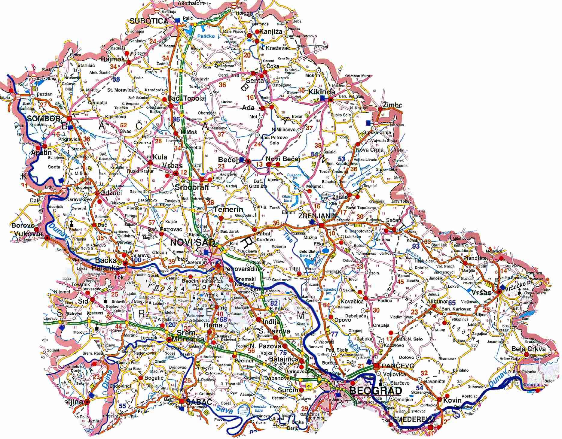 Mapa Vojvodine Auto Karta Superjoden